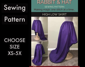 Gathered Waist High Low Skirt 2621 New Rabbit and Hat Sewing Pattern - All Sizes Included XS S M L XL 2X 3X 4X 5X