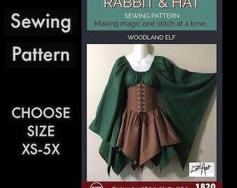 Woodland Elf Waist Cincher, Fantasy Top, Handkerchief Skirt 1820 New Rabbit and Hat Sewing Pattern Choose Size XS-5X