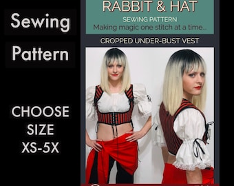 Adjustable Cropped Under Bust Pirate Harness Vest 720 New Cosplay Rabbit and Hat Sewing Pattern Choose Size XS S M L XL 2X 3X 4X 5X