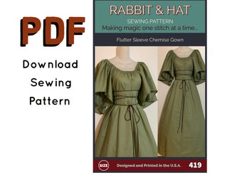 PDF Size SMALL Flutter Sleeve Chemise Gown with Rope Tie Belt 419 New Rabbit & Hat Sewing Pattern