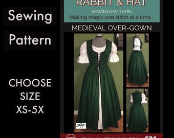 MEDIEVAL OVER GOWN 621 New Rabbit and Hat Sewing Pattern  Step by Step Photo Instructions