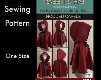 Hooded Capelet Short Cape 4121 New Rabbit and Hat Sewing Pattern - Single layer! Great to look mysterious even during warmer events!