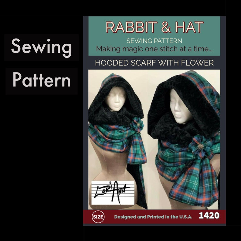 Hooded Scarf with Flower 1420 New Rabbit and Hat Sewing image 0