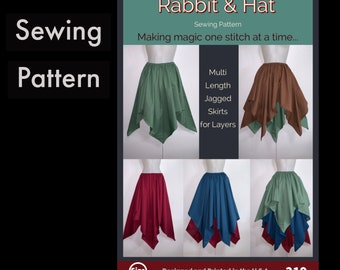 Gathered Waist Jagged Skirt with Two Length Options for Layering 219 New Rabbit and Hat Sewing Pattern - Choose Size XS S M L XL 2X 3X 4X 5X