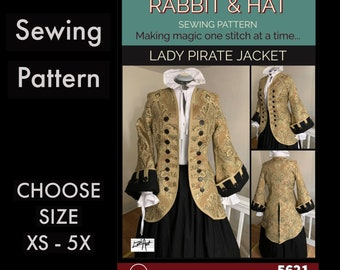 WOMENS Pirate Coat with Tails Swashbuckler Medieval Renaissance New 5621 Rabbit and Hat Sewing Pattern - Choose Size XS S M L XL 2X 3X 4X 5X