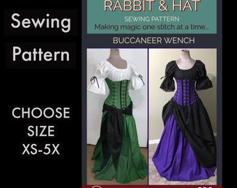 Buccaneer Wench Ruffle Cuff Top 4-Tie Under-Bust Corset A-line Skirt Sash 620 Rabbit and Hat Sewing Pattern Choose Size XS thru 5X Plus Size