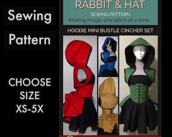 Hoodie Shrug Mini Skirt Bustle Sleeveless Top Waist Cincher Set 1021 New Rabbit and Hat Sewing Pattern Choose Size XS-5X