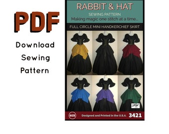 PDF Gathered Waist Full Circle Handkerchief Skirt  3421 New Rabbit and Hat Sewing Pattern - All Sizes Included XS S M L XL 2X 3X 4X 5X
