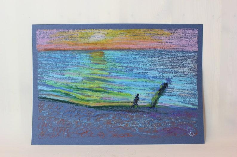 seascape artwork Sunset painting original pastel painting