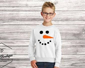 Snowman Face Graphic Mens Womens Long Sleeve Snow Man Print Sweatshirt Shirt