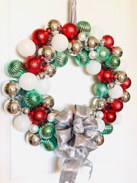 Red and Silver Christmas Ornament Wreath