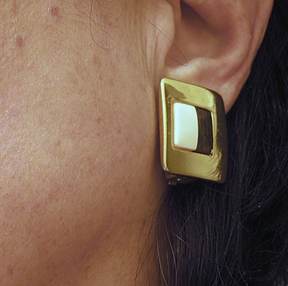 Lanvin signed French Clip Earrings Vintage 1970's… - image 2