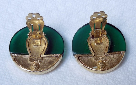 Lanvin signed French Button Clip Earrings Vintage… - image 3