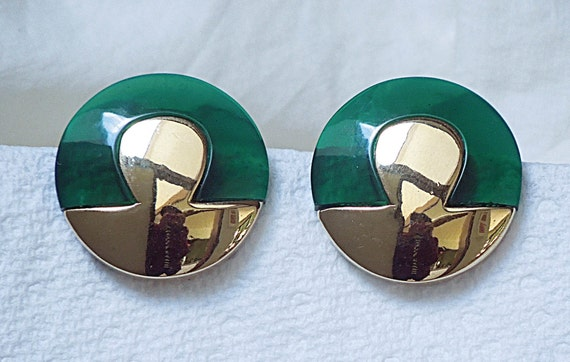 Lanvin signed French Button Clip Earrings Vintage… - image 2