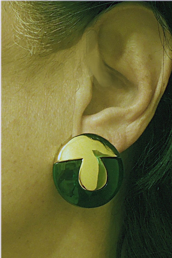 Lanvin signed French Button Clip Earrings Vintage… - image 1