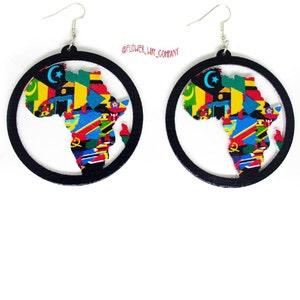 Akai Africa Shape Queen Earrings Africa Shaped Earrings African Queen Earring pinkGreen Pink and Green Earrings Sorority Earring