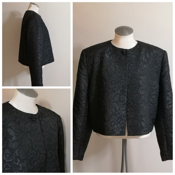 Woman's 90's Vintage Black Jacket, box or Chanel … - image 1