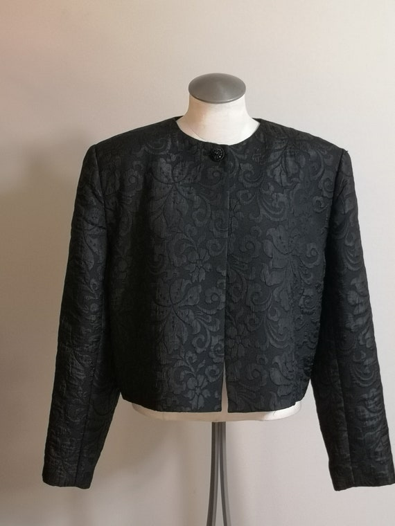 Woman's 90's Vintage Black Jacket, box or Chanel … - image 5
