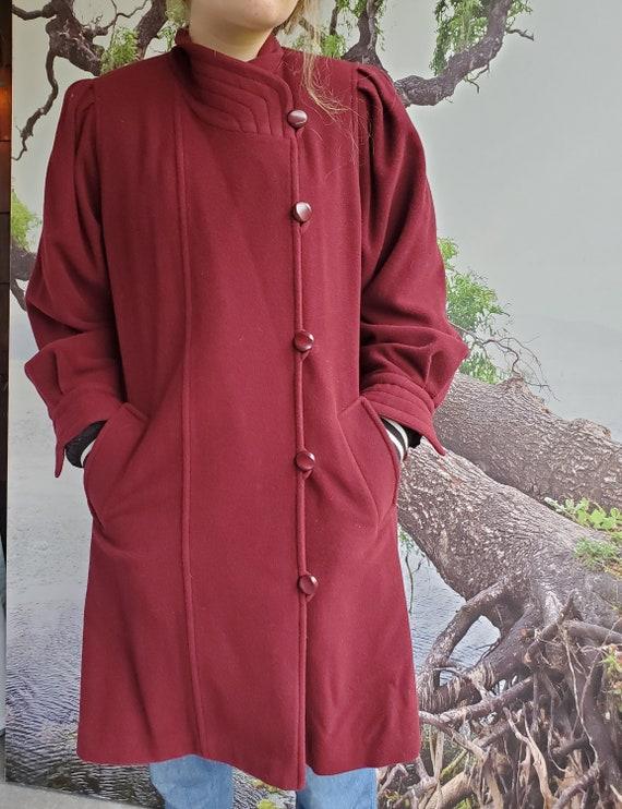 Dark Red Wool Overcoat. Vintage 50's Style. Comfor
