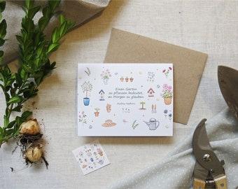 """Klappkarte Grußkarte """"Garten"""" mit Umschlag nach Wahl & Sticker Aquarellprint"""