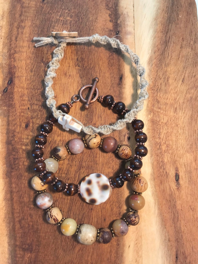 Boho Style Three Stacked Bracelets and Wood and Shell with Toggle Stretchy Wooden and Natural Stone Beads Macrame and Cross
