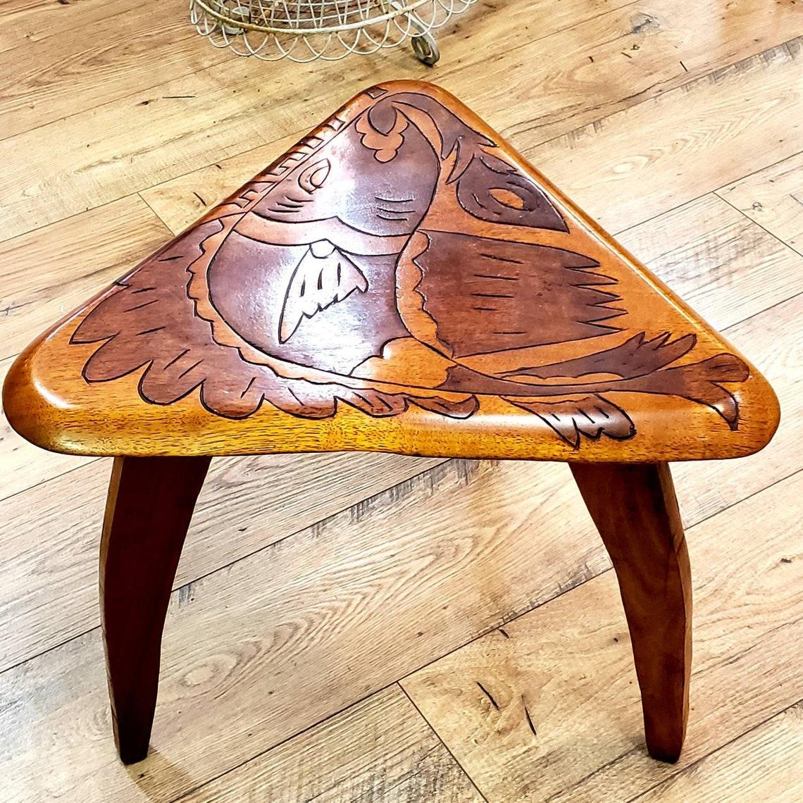 Vintage Carved Fish designed Side Table 1970s