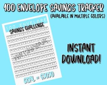 100 Envelope Savings Challenge Tracker - DIGITAL