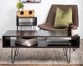 Black coffee table, Modern coffee table, Mid-century coffee table, Rustic coffee table,wood coffee table, custom coffee table,