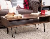 Brown coffee table, Modern coffee table, Mid-century coffee table, Rustic coffee table,wood coffee table, custom coffee table,