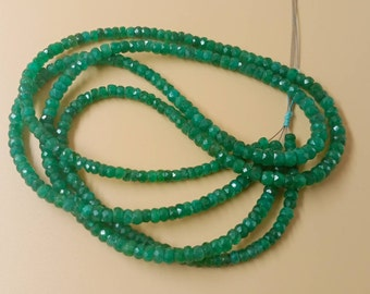 """Emerald Micro Cut Faceted Beads,  Genuine Emerald Zambia Beads ,4 to 4.5 mm size beads, Green Gemstone Beads, 16"""" inch long Strand"""