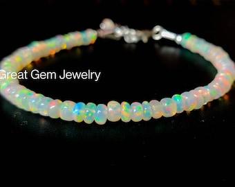 Natural Opal Bracelet, Smooth Opal Silver Bracelet, Welo Opal Smooth Beads Bracelet, Multi Fire Opal Bracelet, Ethiopian Opal Jewelry
