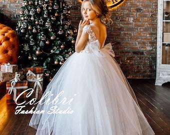 Ivory Flower Girl Dress, First Communion Dress, Tutu Flower Girl Dress, Lace Girl Dress, Tulle Girl Dress, White Flower Girl Dress