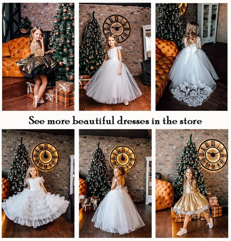 Ivory girl dress Tulle Flower Dress Tutu Flower Girl Dress Flower Girl Dress Feathers Birthday Girl Dress First Communion