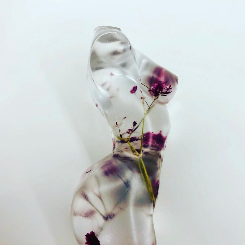 Gorgeous Handmade Female Resin medium size Goddess made with real flowers body figure 10cm long  unique gift