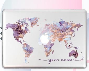 Personalized Macbook Pro 15 2019 Case Macbook Pro Retina 13 Case Travel Macbook 12 Hard Cover World Map Macbook Air 13 2018 Case GA0004