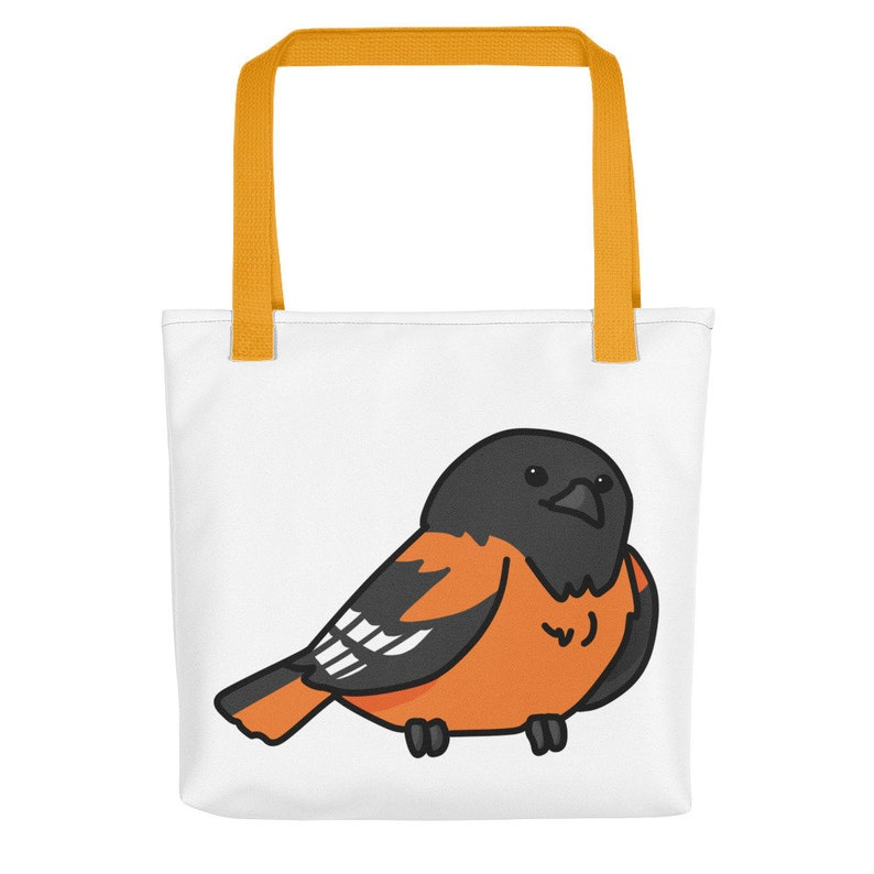 eco friendly gift reusable gag budgie gift chubby bird Baltimore Oriole tote bag \u2013 shoulder bag with bird illustration parrot gift