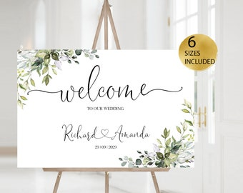 Editable Welcome Sign,  Welcome Sign Template, Eucalyptus Greenery Welcome Sign, Eucalyptus Wedding Sign, Printable, Diy Custom Welcome Sign