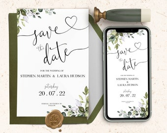 Save The Date Template, Eucalyptus Save the Date Digital Download, Smartphone, Greenery  Save the Date Digital Template, Editable