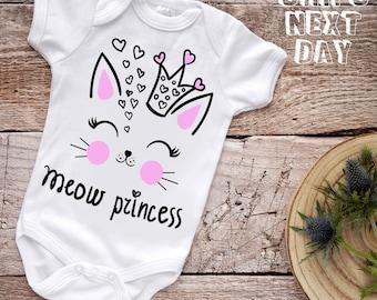 Are your Kitten Meow SVG White Onesie