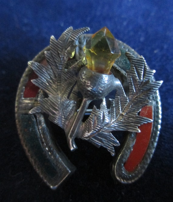 Sterling Silver Scottish Thistle Brooch - image 1
