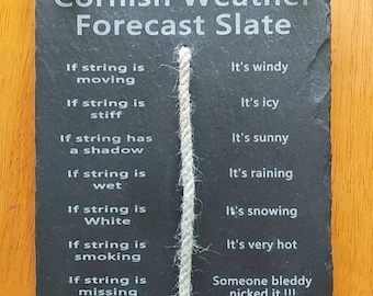 Hanging Weather forecast slate Cornish weather