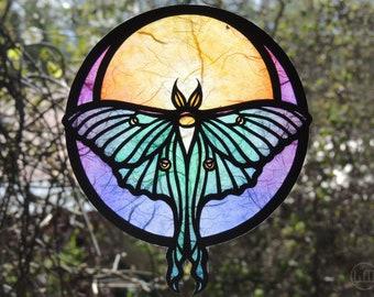 Customizable Luna Moth Papercraft Suncatcher - Moons Grace