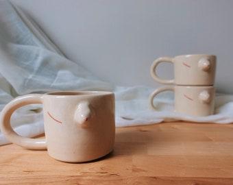 Boobs Mug - Breast Cancer - Pink October - Feminist Ceramics