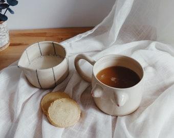 Ceramic Creamer - Minimalistic Ceramics - Lines Collection