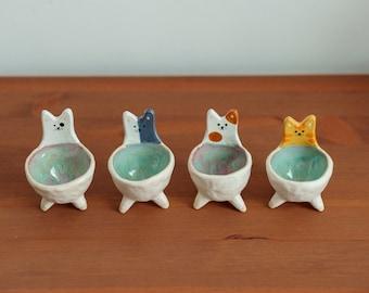 Cute Cat Extra Small Bowls - Trinket Dish - Ceramic Cat - Vide-Poche