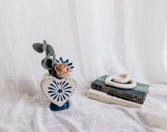 Milagro Vase - Sacred Heart Ceramic Vase - Milagrito Mexicano - Mexican Ceramics
