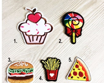 Embroidered IRON ON PATCH Cupcake Shake Treat Iron Heat Adhesive Lollipop Candy Eggplant Food Dessert To Eat Mushroom Pink White Vegetable