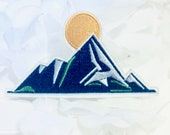 Embroidered IRON ON PATCH Iron Heat Adhesive Travelling Decoration Adornment Embellishment Ornement Mountain Climb Higher Forest Nature Sun
