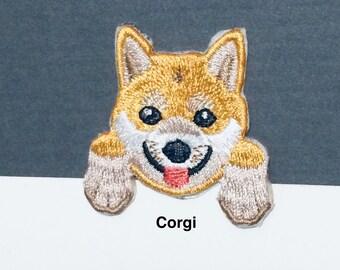 Embroidered IRON ON PATCH Heat Adhesive Pocket Dog Pet Animal Beagle Boxer Chihuahua Schnauzer Poodle German Shepherd Corgi Pug Dalmatian