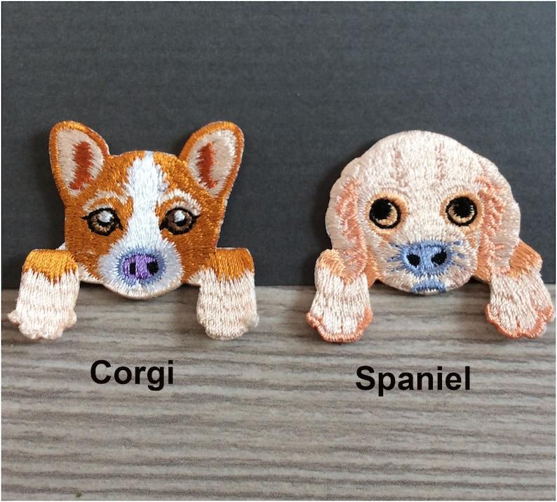 Embroidered IRON ON PATCH Heat Adhesive Pocket Dog Pet Animal Doggy Small  Chihuahua Schnauzer Poodle German Shepherd Corgi Pug Dalmatian